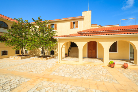 Square with building of old monastery Agios Gerasimos on Kefalonia island, Greece