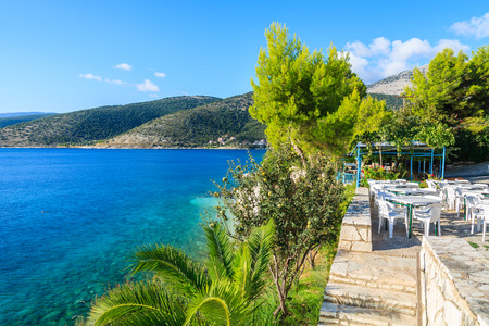 Greek tavern restaurant on coast of Kefalonia island in Agia Efimia, Greece