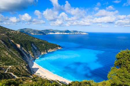 View of beautiful Myrtos beach on Kefalonia island, Greece