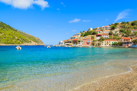 Beautiful beach in Assos village on Kefalonia island, Greece