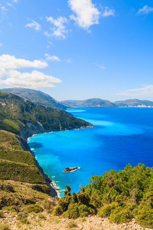 Blue sea and mountains on coast of Kefalonia island near Assos town, Greece