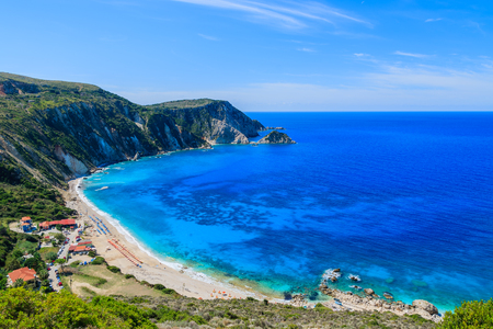 View of Petani bay and beautiful beach, Kefalonia island, Greece Stock Photo
