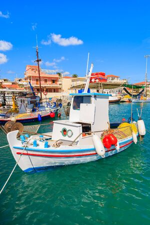 Typical Greek fishing boat in Lixouri port, Kefalonia island Stock Photo