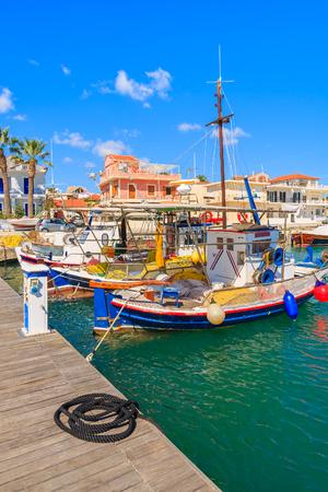 Typical Greek fishing boats in Lixouri port, Kefalonia island