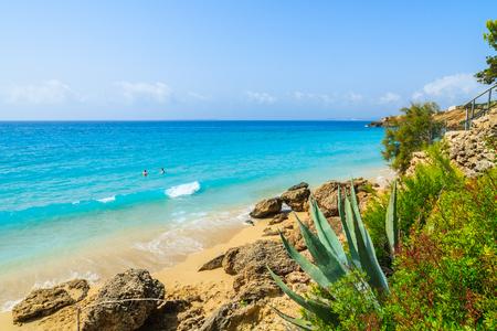 Turquoise sea at sandy Lassi beach on Kefalonia island, Greece Stock Photo