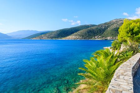 Beautiful sea on coast of Kefalonia island in Agia Efimia, Greece Stock Photo