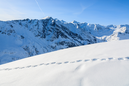 Footprints in fresh snow in mountains of Riffelsee ski resort, Pitztal valley, Austrian Alps Archivio Fotografico