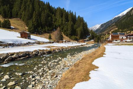River in mountain valley near Pitztal ski resort, Sankt Leonhard village, Austrian Alps