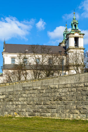 Cathedral Na Skalce, the oldest Sanctuary in city of Cracow near Vistula river, Poland Stock Photo