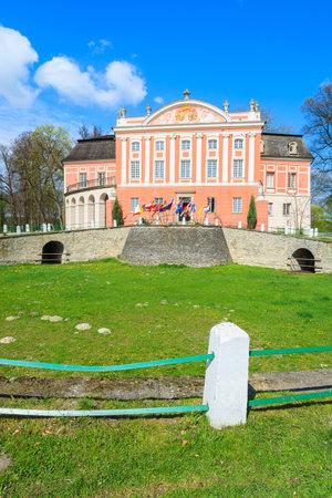 Kurozweki palace on sunny spring day, Poland