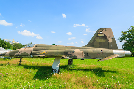 KRAKOW MUSEUM OF AVIATION, POLAND - JUL 27, 2014: military fighter aircraft on exhibition in outdoor museum of aviation history in Krakow, Poland. In summer often air shows take place here. Editorial