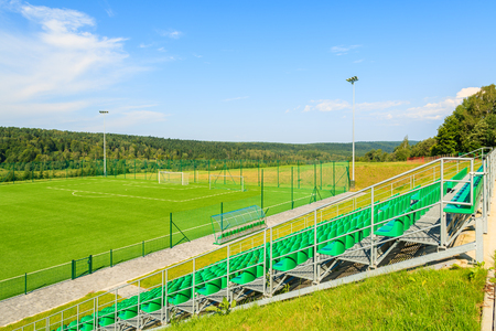 Football field on sunny summer day in Bieszczady Mountains, Poland