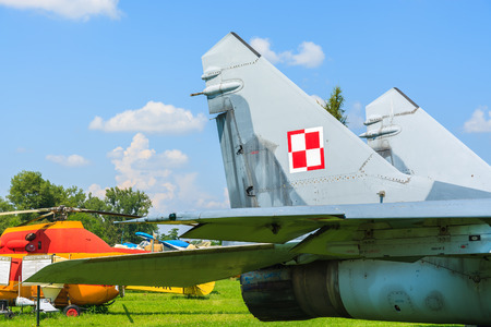KRAKOW MUSEUM OF AVIATION, POLAND - JUL 27, 2014: military Russian fighter aircraft MIG-29 on exhibition in outdoor museum of aviation history in Krakow. In summer often air shows take place here.