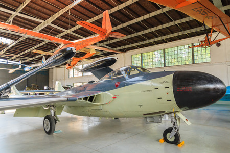 KRAKOW MUSEUM OF AVIATION, POLAND - JUL 27, 2014: old aircraft on exhibition in indoor museum of aviation history in Krakow, Poland. In summer often air shows take place here. Editorial