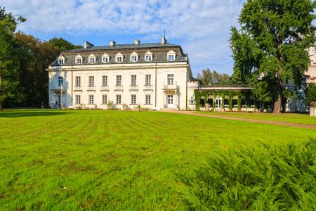 Beautiful palace in green park of Radziejowice village near Warsaw, Poland