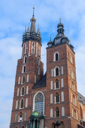 Towers of Mariacki church in Krakow, Poland