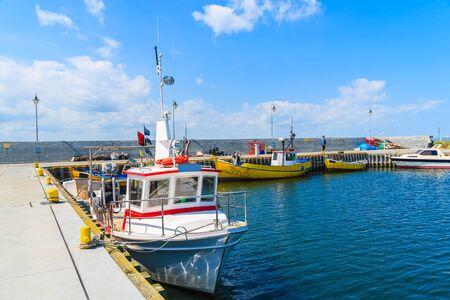 Colourful fishing boats anchoring in Kuznica port on Hel peninsula, Baltic Sea, Poland Stock Photo