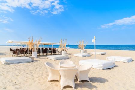 Beach bar in Jurata coastal village on Hel peninsula, Baltic Sea, Poland Stock Photo