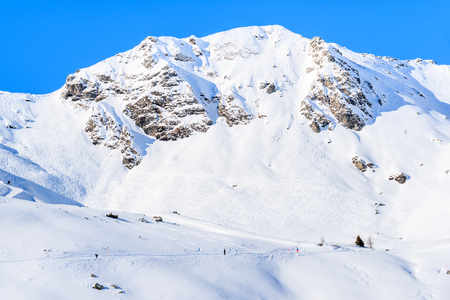 View of mountain covered with snow in Obertauern ski resort, Austria