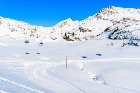 View of chairlift and slopes in Obertauern resort, Austria