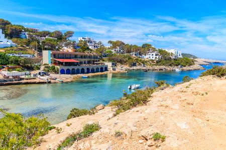View of small port in Cala Portinatx bay, Ibiza island, Spain 스톡 콘텐츠