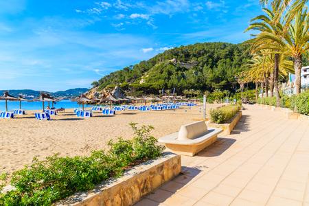 Coastal promenade along sandy beach with umbrellas and sunbeds in Cala San Vicente bay on sunny summer day, Ibiza island, Spain