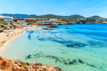 View of Cala Tarida bay and beach, Ibiza island, Spain
