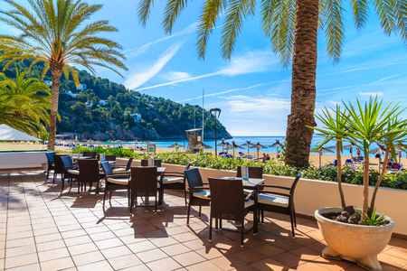 Bar tables terrace on beach with palm trees in Cala San Vicente bay, Ibiza island, Spain Stock Photo