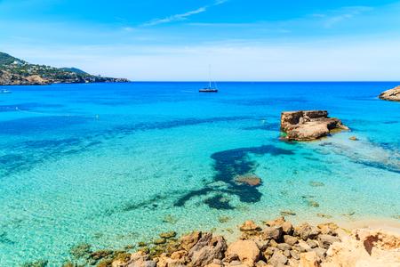 Beautiful coast and sea in Cala Tarida, Ibiza island, Spain