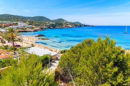 View of Cala Tarida bay and beach, Ibiza island, Spain.