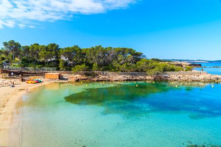 View of beautiful Cala Gracio beach at early morning, Ibiza island, Spain
