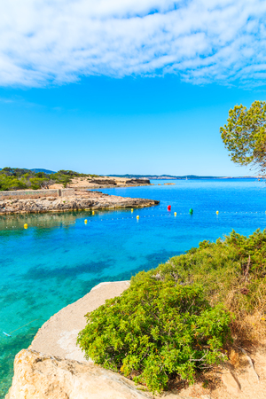 View of beautiful Cala Gracio bay at early morning, Ibiza island, Spain Stock Photo