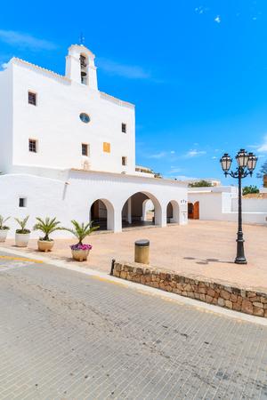Square with typical white style church in Sant Josep de sa Talaia town on Ibiza island, Spain