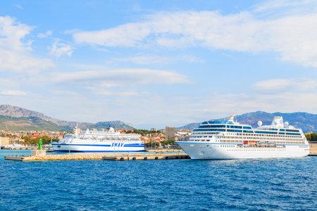 SPLIT PORT, CROATIA - SEP 7, 2017: large ferry ship carrying cars and passengers mooring in Split port, Croatia.
