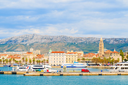 SPLIT PORT, CROATIA - SEP 7, 2017: View of Split port with historic buildings, Croatia.