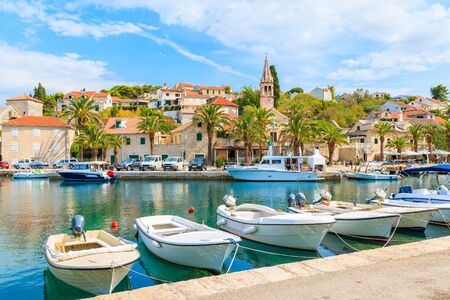Fishing boats in Splitska village with beautiful port, Brac island, Croatia