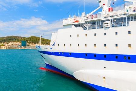 Ferry ship carrying departing Split port, Croatia Stock Photo - 92907300