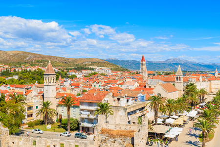View of Trogir town with colorful houses, Dalmatia, Croatia