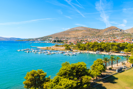 View of sea coast in Trogir town with colorful houses, Dalmatia, Croatia Stock Photo