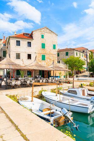 Fishing boats in Postira port, Brac island, Croatia