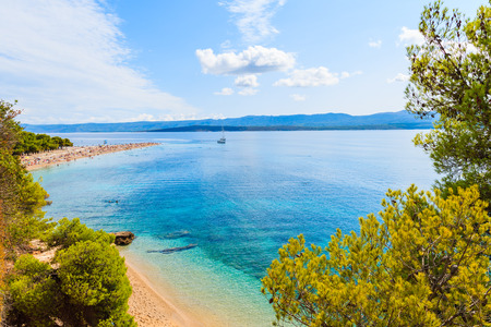 View of Zlatni Rat beach (Golden Horn) with beautiful sea water, most famous beach of Adriatic Sea, Brac island, Croatia Stock Photo