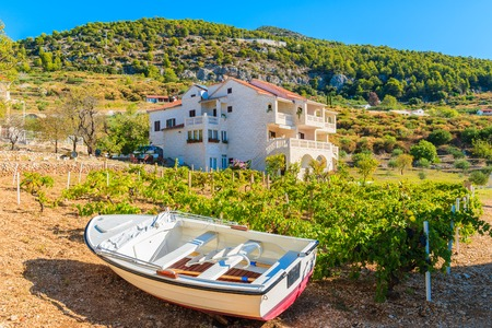 Small fishing boat in vineyards of Bol town, Brac island, Croatia Stock Photo