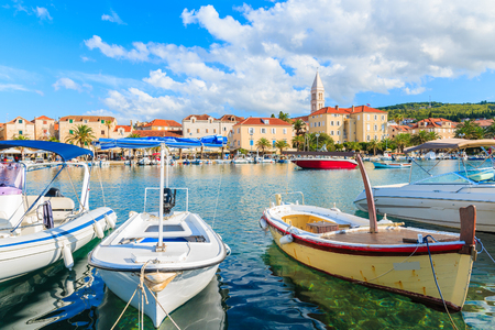 Colorful fishing boats in Supetar port, Brac island, Croatia