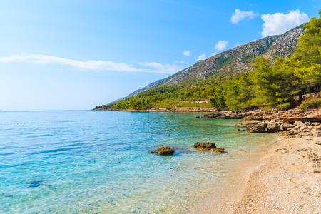 Idyllic secluded beach on coast of Brac island near Bol town, Croatia Stock Photo