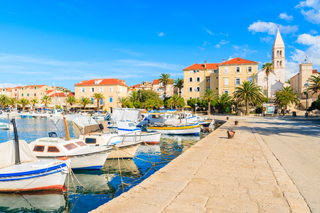 Colorful fishing boats in Supetar port, Brac island, Croatia
