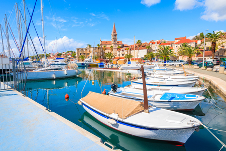View of Milna port with colorful fishing boats, Brac island, Croatia