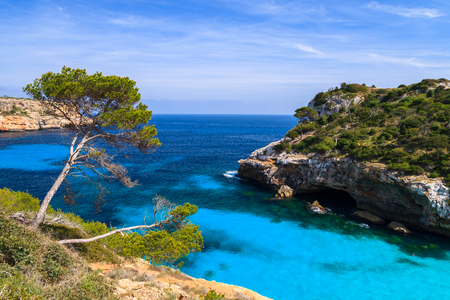 Beautiful beach bay azure sea water, Cala des Moro, Majorca island, Spain Stock fotó