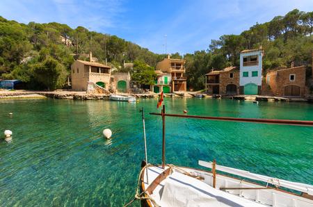 Fishing boat yacht marina village house, Cala Figuera, Majorca island, Spain Banco de Imagens