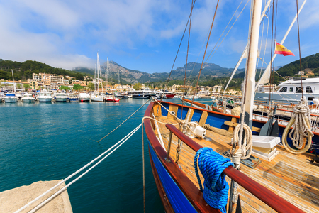 Yacht boat in Port Soller town on coast of Majorca island, Spain