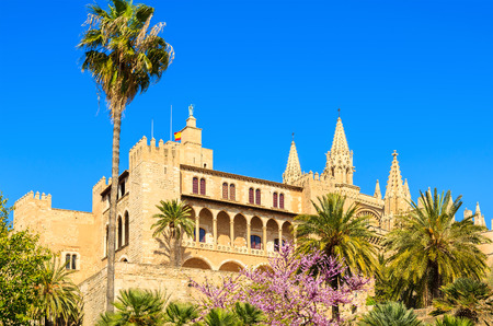 Famous Almudaina Royal Palace in Palma de Mallorca town, Spain